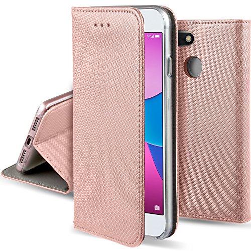 Moozy Hülle Flip Case für Huawei Y6 Pro (2017) / P9 Lite Mini, Rose Gold - Dünne magnetische Klapphülle Handyhülle mit Standfunktion