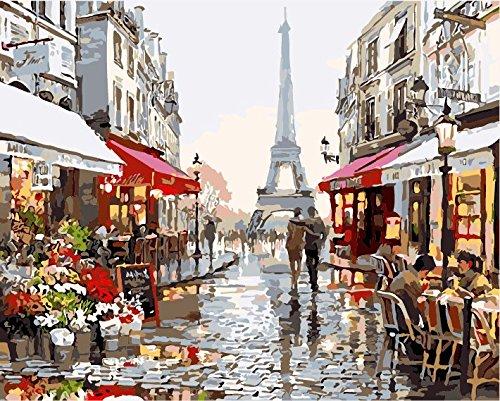 IPLST@ Quadri senza cornice olio digitale dai numeri, paesaggio romantico Parigi negozio di fiori su tela decalcomanie, pittura diy Kit- 16x20inch