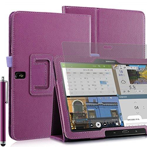 Invero® Premium Hülle Ledertasche umfasst Ständer Feature, Displayschutzfolie und Eingabestift Kugelschreiber für Samsung Galaxy Tab Pro 12,2 Zoll SM-T900 SM-T905 (Lila / Purple) (Invisible Shield Für Den Kindle)