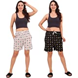 Kiba Retail Printed Cotton Casual/Night Wear Shorts for Girl's/Women's Combo (Pack-2)