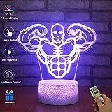 3D visuelle Lampe optische Täuschung LED Nachtlicht, erstaunliche 7 Farben Figur Persönlichkeiten Form Lampen, USB-Gebühr für Inneneinrichtungen (Bodybuilding)