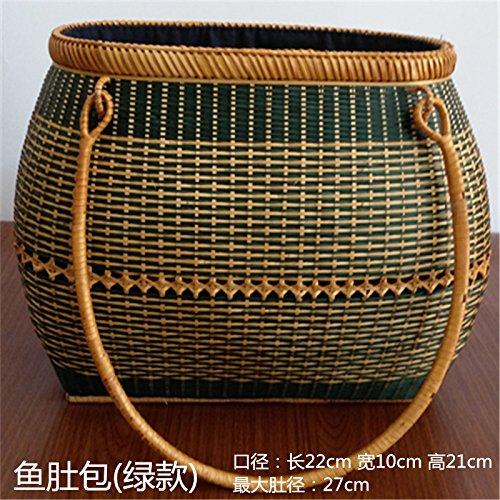 BAGEHUA Akito revestidos Tote Bag Bolso tejidas a mano accesorios té Canasta de Almacenamiento G (20cm * 8cm) B (22 * 10 * 21)