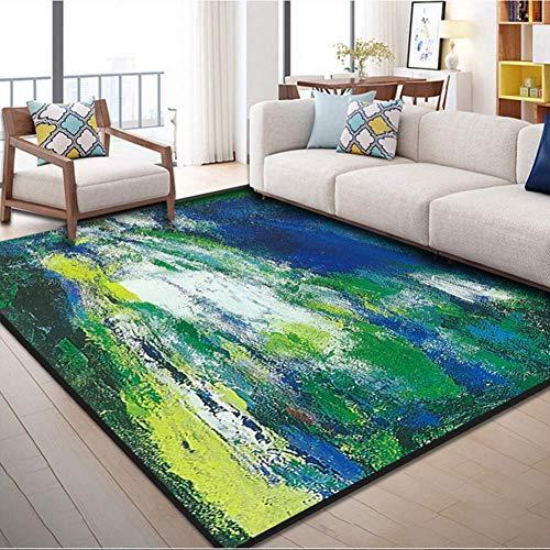 Aishankra Einfacher Teppich Tinte-Spritzender Kunst-Bereichs-Wolldecken Wohnzimmer-Kaffee-Tabellen-Schlafzimmer-Nachttisch-Computer-Sitz-Stuhl-Kissen,14,6'6''X9'8''/200X300CM (8 Ft Runde Bereich Teppich)