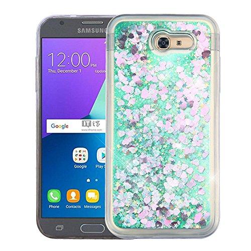 Schutzhülle und Eingabestift, Hybrid-Schutzhülle für Samsung Galaxy J3 Luna Pro / J327P J3 2017 /Amp Prime 2/J3 Emerge/Express Prime 2/Sol 2/J3 Prime Hearts & Green Quicksand Glitter Quicksand Hard Faceplate