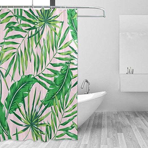 cpyang Palm und Banana Leaf Polyester Stoff Vorhänge Dusche Wasserdicht und Schimmel beständig für Badezimmer Dekoration Mit 12Vorhang Haken 182,9x 182,9cm (Palm-baum-dusche Vorhang Ringe)