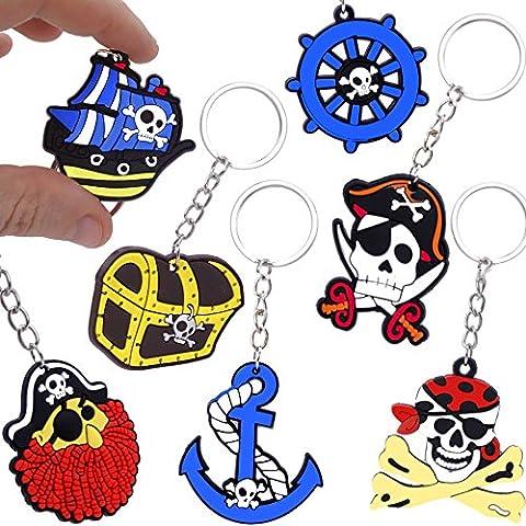 German Trendseller® - 24 x porte-clés pirats┃la fête des pirates┃l
