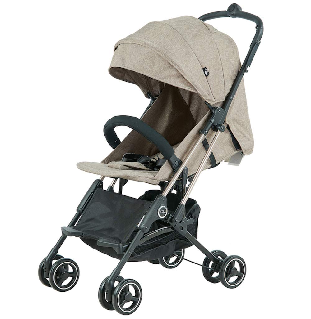 Roma Capsule² Compact Airplane Travel Buggy from Newborn Only 5.6 kgs + Rain Cover, Insect Net and Travel Bag - Tweed with a Rose Gold Chassis Roma Compact lie-back stroller - suitable from newborn to 15 kgs Includes rain cover, insect net, travel bag Locked and swivel wheels, shopping basket, 2