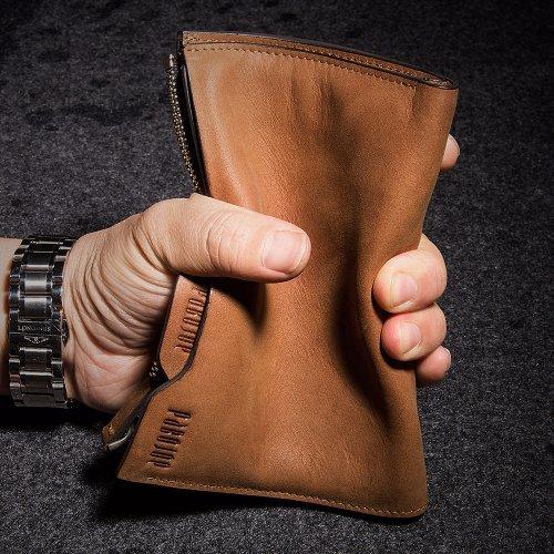Oneworld Herren Rindleder Geldbörse Börse Geldbeutel Geldtasche Portemonnaie 10x15x1.5cm(BxHxT) Dunkel Grün Gelb