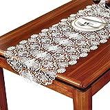 TaiXiuHome blanc floral broderie dentelle de style européen Chemin de table avec translucide gaze tissu pour décorer les maisons les hôtels les mariages et Noël 50 x 120cm