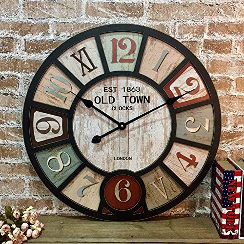 tage Große Wanduhr, Runde Industriellen loft-Stil Uhren Holz Stille Pünktlich Retro Dekoration Für Cafe Restaurant bar-E d:39cm ()