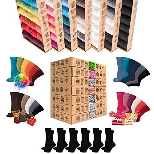 ✩NEU✩ [7+5 Paar.GRATIS] AirSox® Deluxe|BOX Made.in.EU Herrensocken Damensocken 100% Organische Baumwolle | Damit Deine Füße ATMEN | Sneakersocken Sportsocken Business Schwarz Blau Bunt Weiß