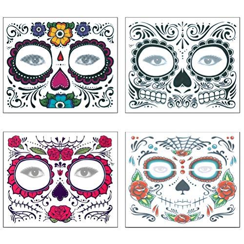 Kit adesivi per tatuaggi facciali beaupretty halloween, teschi di zucchero adesivi per tatuaggi temporanei rose rosse e scintillio per halloween party, 4 fogli