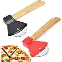 2Pcs Rotella Tagliapizza  Taglierina per Pizza in Acciaio Inossidabile Creativo Ascia  Rotella Pizza con Salvalama e Manico bambu  per Pizza Strumenti per Tagliare La Ruota della Pizza  Nero Rosso