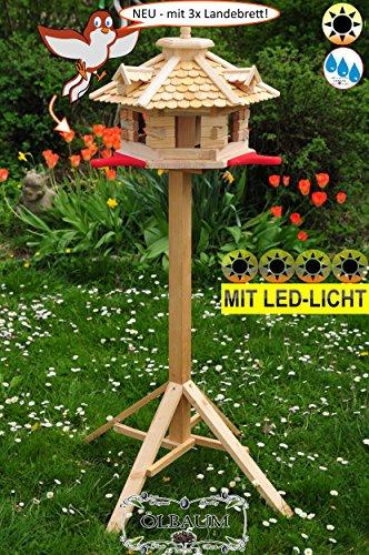 PREMIUM Vogelhaus Futterhaus Holz-natur-MS mit Landebahn + LED - Beleuchtung /
