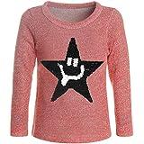 BEZLIT Mädchen Pullover Gestrickt Wende-Pailletten Sweatshirt Pulli 21488 Rot Größe 164
