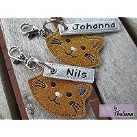 Katze mit Namen personalisierbar Schlüsselanhänger Taschenanhänger tolles Geschenk z. Geburtstag o. Muttertag Kater