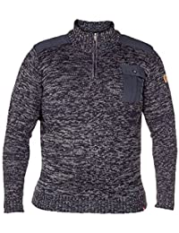 Pull Homme D555 Duke Grand King Size Pull Tricot Pull-over Fermeture Éclair Bouton Hiver