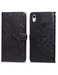 Miagon Hülle für iPhone Xr (6,1 Zoll),Retro Schwarz Mandala Blume Prägung PU Leder Flip Cover Schutzhülle Brieftasche mit Standfunktion Kreditkartenhaltern für iPhone Xr (6,1 Zoll)