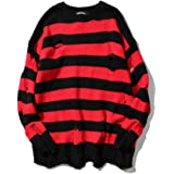 XIELH Men's Autumn and Winter Black and Red Striped Sweater Loose Color Matching Long Hole Men's Pullover Couple Sweater