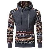 IMJONO Herrenkleidung Men Retro Long Sleeve Hoodie Hooded Sweatshirt Tops Jacket Coat Outwear(X-Large,Dunkelgrau)