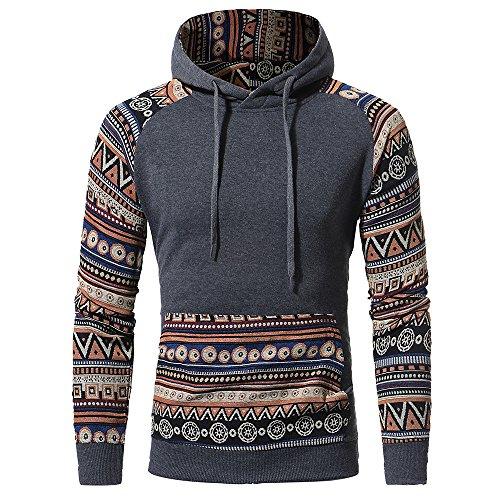 IMJONO Herrenkleidung Men Retro Long Sleeve Hoodie Hooded Sweatshirt Tops Jacket Coat Outwear(XX-Large,Dunkelgrau)