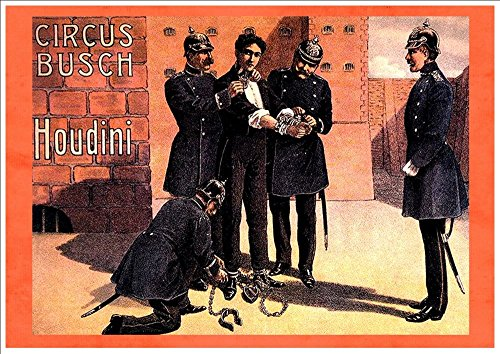 houdini-circus-busch-a4-glossy-vintage-magicians-poster-art-print