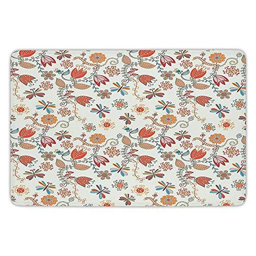 Bathroom Bath Rug Kitchen Floor Mat Carpet,Dragonfly,Cute Tulip Floral Blossom Ornate Pattern with Butterflies Artsy Illustration Decorative,Multicolor,Flannel Microfiber Non-slip Soft Absorbent Floral Tulip-rock
