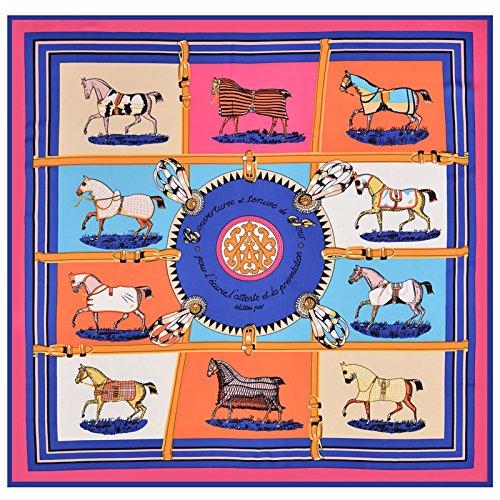 Seidenschal schal_10 Pferde twill Seide Schals, seidenschal von Blau, 10 Pferde 100 cm