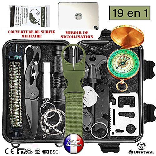 BioHealth-Paris Survival - Kit de supervivencia de emergencia multiherramientas, 19 en 1,...