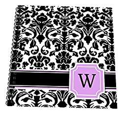 3dRose db_154398_3 Personal Initial W Monogrammed Pink Black And White Damask Pattern Girly Stylish Personalized Letter Mini Notepad, 4 x 4