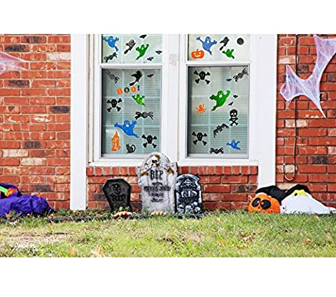 Halloween 3D Dekoration Set | Gel Fensteraufkleber | 33 Teilig | XXL - Dekoset | Top Qualität | Fenster oder Türen | Aufkleber | wiederverwendbar | Gruselig | Gel-Sticker | Wandtattoo | (Chucky Maske Kostüm)