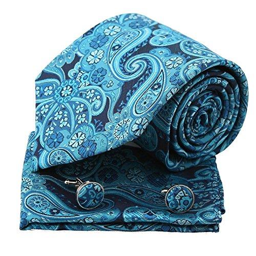 PH1063 Blue Paisley Handmade Mens Accessories Gift Silk Ties Cufflinks Handkerchiefs Valentine Gift for Him By Epoint