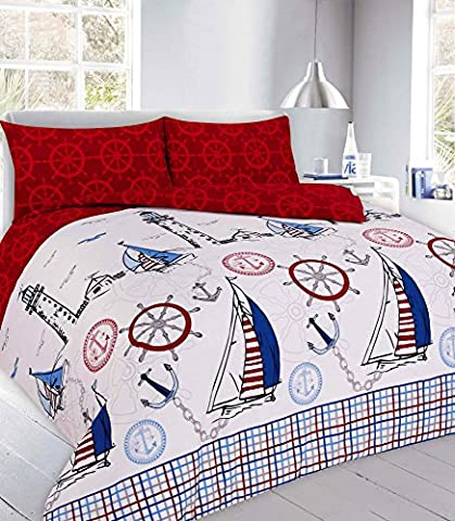 Goldstar® Jake Red Single Size Duvet Sailboat Quilt Cover With