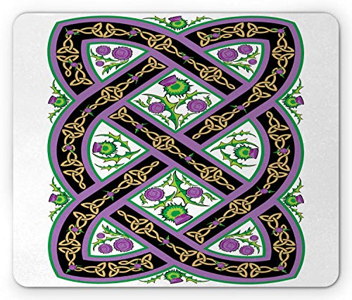 SHAQ Scotland Mouse Pad Mauspad, Celtic Traditional Royal Pattern wih Flowers Thistle Culture Ornamental Art, Standard Size Rectangle Non-Slip Rubber Mousepad, Pink Black Green -