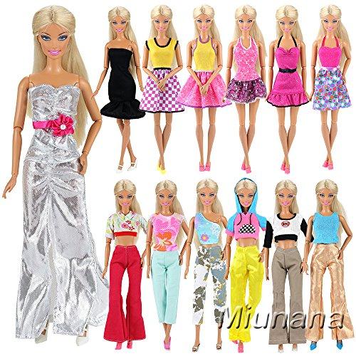 Miunana 5 Sets Fashionistas Mode Kleidung Kleid Party Fashion Ohne Doll für Barbie Puppen Geschenk (Barbie Fashionistas Doll Set)