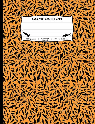 Composition: Sharks All Over Orange Marble Composition Book College Ruled Journal Diary Notebook for men, women, kids, students, teachers (Great White ... sealife, aqua large fish fan journaling