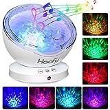 Luz de Proyector, Haofy Ocean Wave proyector con mini reproductor de música incorporado 7 colores Night Lamp 12LED lámpara con música para bebé Kids Mommy dormitorio