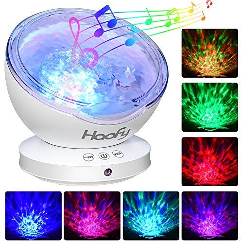 Luce notturna dell'onda oceanica,haofy proiettore ocean wave con mini musica incorporata player 7 colori lampada da notte per bambino bambini mammina camera da letto soggiorno(12 leds, nero)