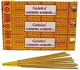 Encens Goloka Nagchampa Agarbathi - 3 boîtes Parfum Nag Champa Bâtonnets d'encens indiens