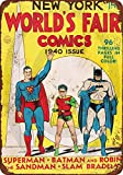Isaric Panneau en étain 1940 World Comics Batman Robin Superman Reproduction Metal Sign 8 x 12