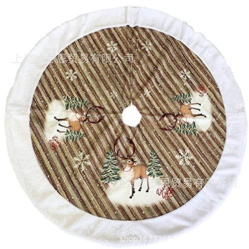 Weihnachtlicher Baumschmuck,48 Zoll Runde Gedruckt Gestreifte Elk Weihnachtsbaum Weiße Künstliche Weiche Kante Weihnachtsbaum Röcke Xmas Ornaments Christmas Geschenk Für Indoor Outdoor Neue Jahr -
