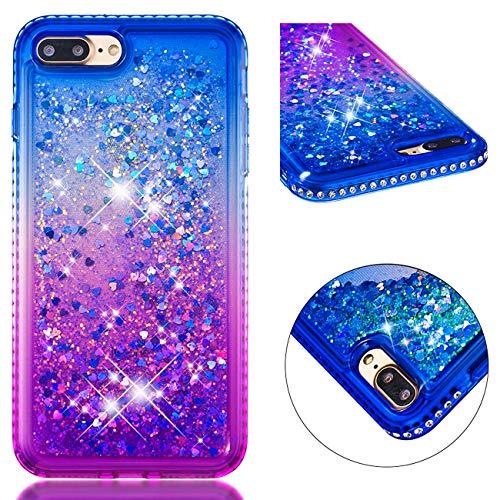 [NO für 8/7] Vectady für iPhone 8 Plus/iPhone 7 Plus [NO für 8/7] Handyhülle Case Hülle Flüssig Durchsichtig Schutzhülle Transparent Glitzer Diamant Cover Glitter Silikon Bumper,Blau Lila