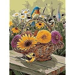 Fuumuui Lienzo de Bricolaje Regalo de Pintura al óleo para Adultos niños Pintura por número Kits Decoraciones para el hogar -Pájaros Azules y Margarita 16 * 20 Pulgadas