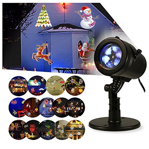 Glighone Weihnachten Projektor Lichter 9W LED Projektionslampe Weihnachtsprojektor Licht Weihnachtsbeleuchtung mit 14 Wechselbaren Musters IP65 Wasserdicht für Innen Aussen Ändern Sie Wand Licht Schalter