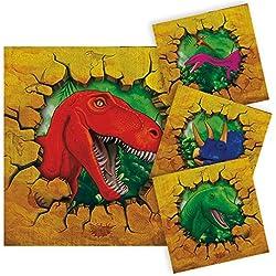 16 servilletas de papel 25x25cm decoracion de fiestas cumpleaños Dinosaurios T-rex