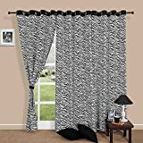 #10: Modern Black and White Cotton Window Curtains-54 x 60 Inch- Set Of 2 Panels Zebra Stripe With Black Border