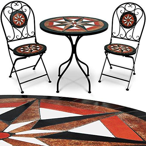 Mosaik Gartenmöbel Sitzgarnitur Sitzgruppe Balkonset Tisch Pamplona 3tlg. Set
