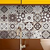 Stickers adhésifs carrelages | Sticker Autocollant Carreaux de ciment - Mosaïque carrelage mural salle de bain et cuisine | Carreaux de ciment adhésif mural - azulejos 15 x 15 cm - 24 pièces