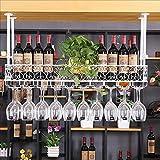 barra de bar mostrador de bar estante de vino restaurante hogar copas de vino estante invertido retro arte de hierro bastidores de vino ( Color : C , Tamaño : 100*25cm )