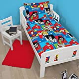 DC Kids Superman, Batman, Robin, Cyborg, The Flash, Hawkman Junior Bed, Cot Bed, Toddler Bed Size Duvet Cover and Pillowcase Set - 120cm x 150cm